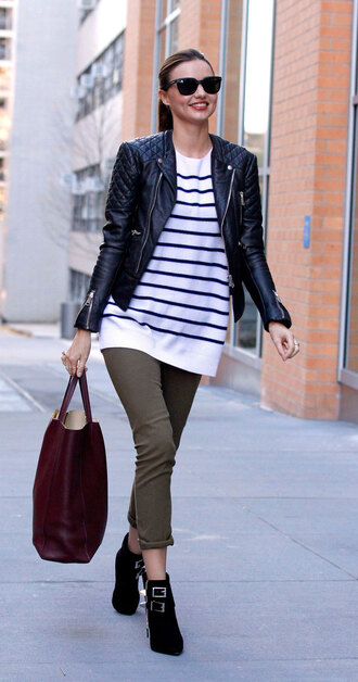 thebudgetbabe blogger jacket shoes bag sunglasses stripes striped top long sleeves leather jacket red bag burgundy ankle boots