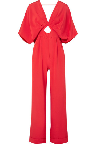 jumpsuit bow embellished silk red