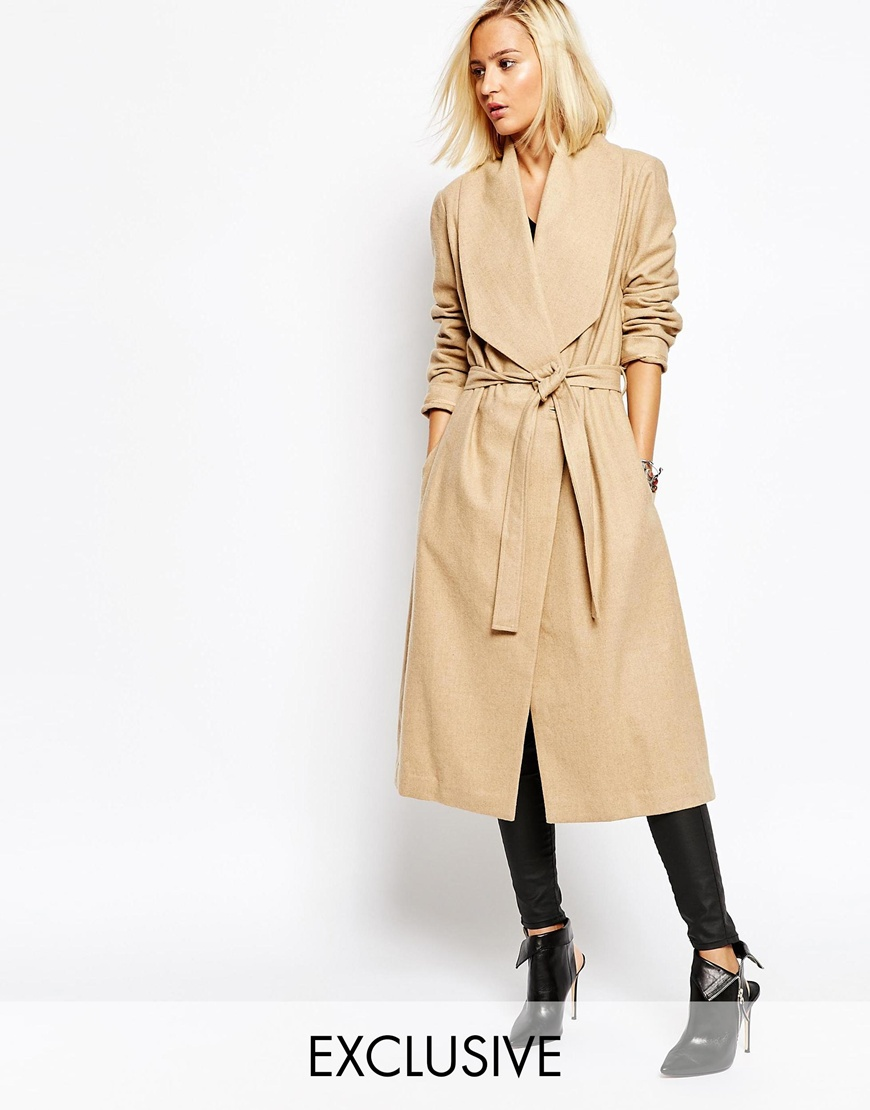 Passage Drape Front Dresser Wool Coat With Belt at asos.com