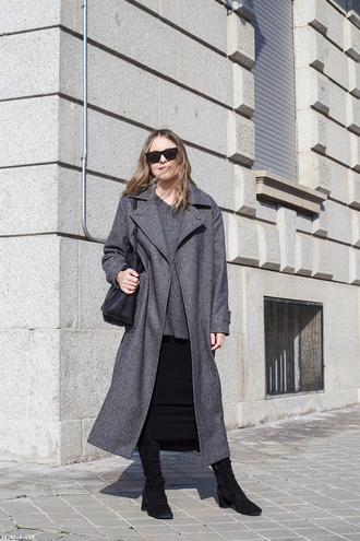 trini blogger sunglasses sweater skirt coat shoes bag grey coat black boots boots winter outfits