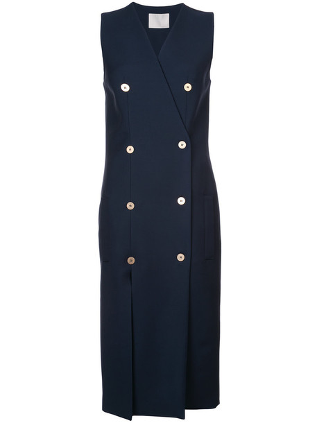 Dion Lee dress double breasted women nautical spandex blue wool