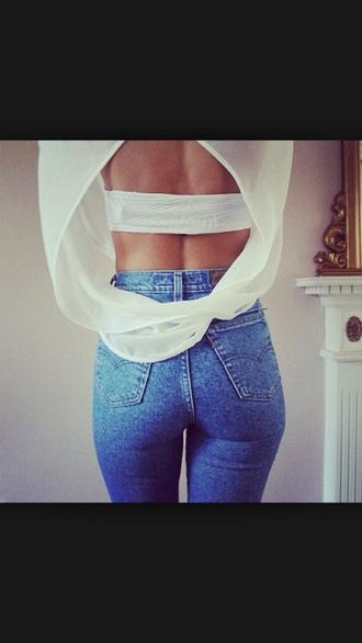 jeans crop acid wash shirt