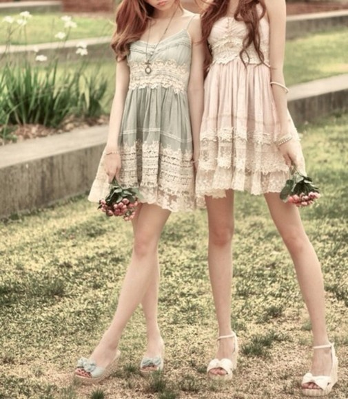 girly dress frills lace dress boho grunge bohemian dress fashion cute gorgeous pink dress blue dress girly grunge hippie hippie chic innocent anime style princess dress sheer doll lolita lolita dress 90s style lace green tan shoes fairy tale