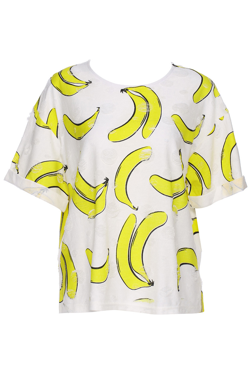 ROMWE | ROMWE Banana Print White Short-sleeved T-shirt, The Latest Street Fashion