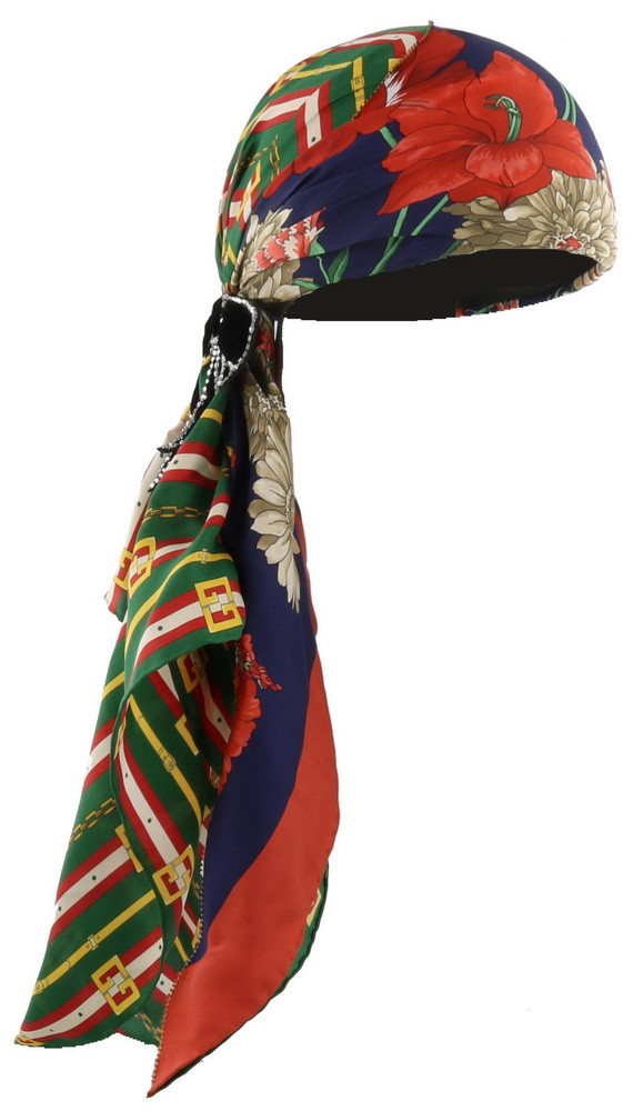 b2ad0ee22db Gucci Square Gg Belts And Spring Bouquet Silk Turban in navy   green