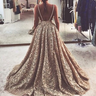 dress prom vintage black gold spegehtti strap princess dress zipper dress floral lace dress lace full skirt ball gown dress feminine floor length dress flowy sleveless gold dress gold lace prom dress wedding dress