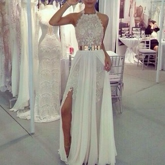 white dress wedding dress white long dress formal dress crochet long prom dress heels classy lace dress long prom dress long dress slit dress wedding formal stylish dress white lace prom white prom dress gold belt cream chiffon dress white lace dress grad cute dress