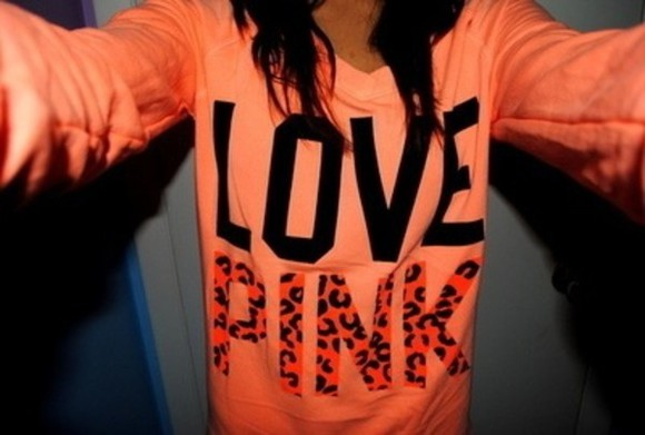 orange shirt sweater victorias secret pink