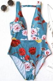 swimwear,girly,blue,floral,one piece swimsuit,one piece,bodysuit,flowers