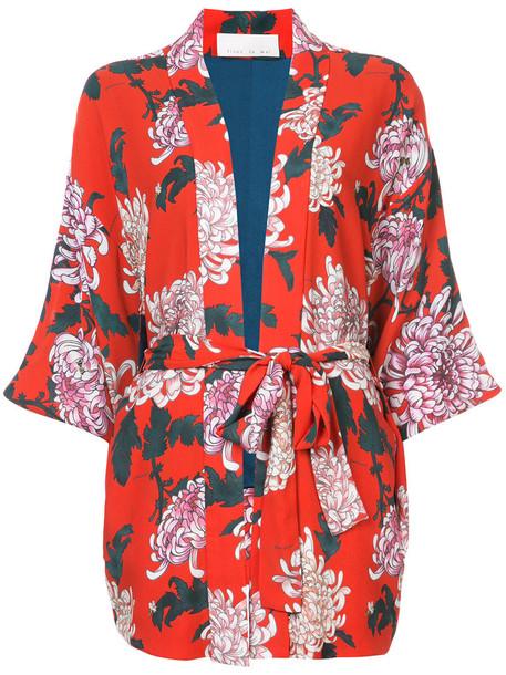 kimono women silk red top
