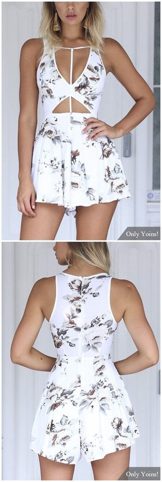 romper rose flowers one piece romper shorts romantic summer dress white sleeveless playsuit short white lace playsuit jumper cut-out sexy summer summer outfits summer beauty beautiful romantic cute gorgeous dress white dress need  i need this help spring spring outfits
