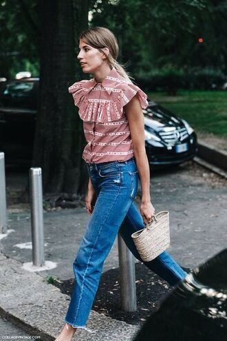 blouse jeans denim high neck stripes frilly ruffle ruffled top outfit bag straw bag pattern red cropped jeans blue jeans summer summer outfits top pink top flare jeans frayed denim sleeveless shirt