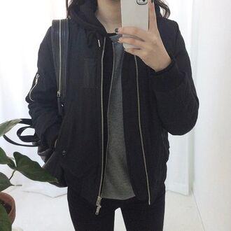 jacket hoodie coat black hoodie cute black hoodie black hooded jacket zip up zip up jacket double zipper silver zipper