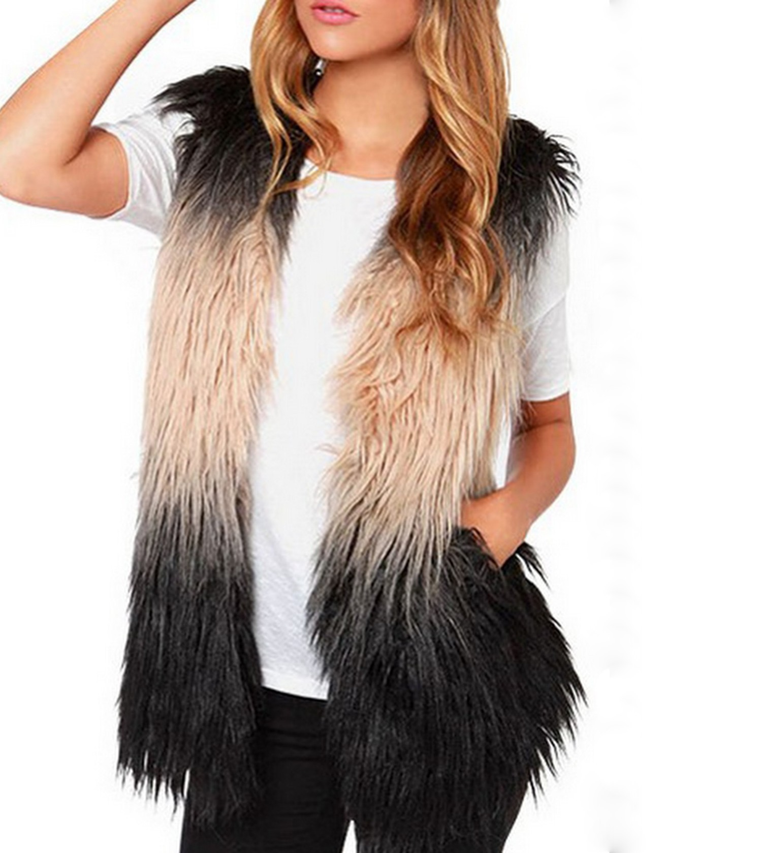 Ombre faux fur vest coat · fashion struck · online store powered by storenvy