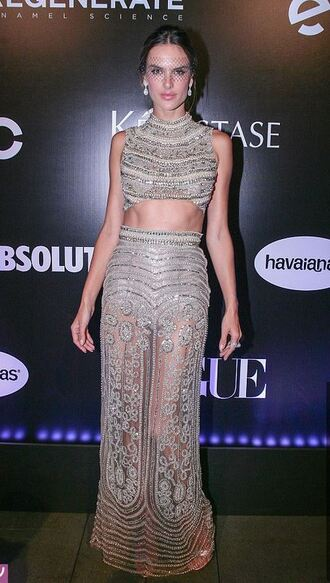 dress gown silver beaded dress alessandra ambrosio skirt top