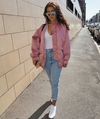 jacket pink pink jacket denim jacket bomber jacket pink bomber jacket pinkjacket baseball jacket cute light pink jacket jewels jeans sunglasses