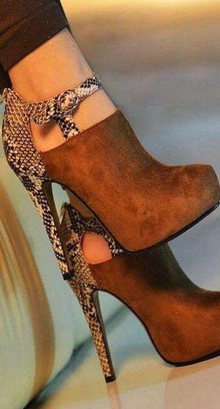 snake print leather print brown leather boots nubuck reptile skin heels strappy heels boots