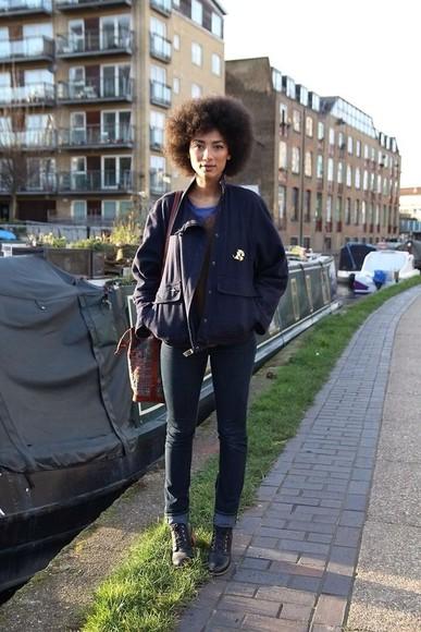 navy jacket streetstyle jeans boots