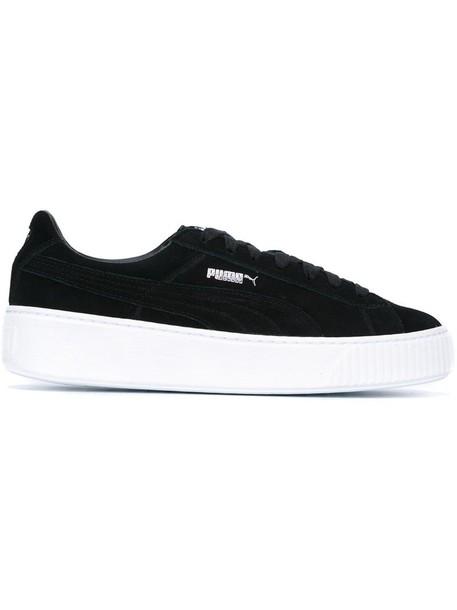 puma women sneakers platform sneakers leather suede black shoes