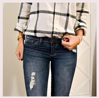 jeans shirt top denim ripped jeans checkered checked shirt beige creme torn clothes