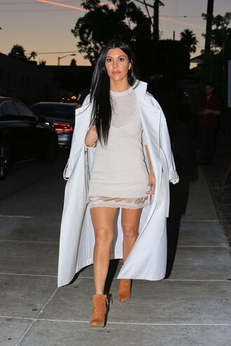 underwear boots ankle boots kourtney kardashian kardashians coat spring outfits camisole lace tunic dress shoes