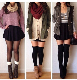 shirt striped shirt black and white shirt jacket scarf infinity scarf skirt pencil skirt boots cute utility jacket thigh highs