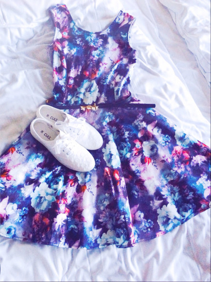 shoes dress colorful pink blue beautiful white belt