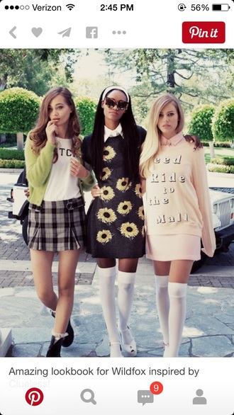 dress 90s style preppy pale pastel knee high socks sweater style fashion sunflower skirt shoes