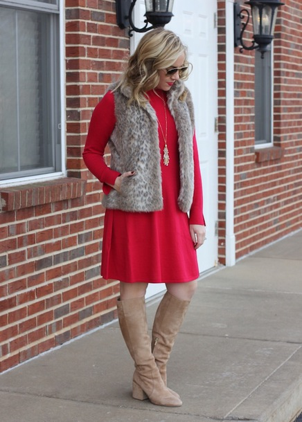 stylin in st. louis blogger dress jacket shoes sunglasses red dress faux fur vest boots knee high boots winter outfits