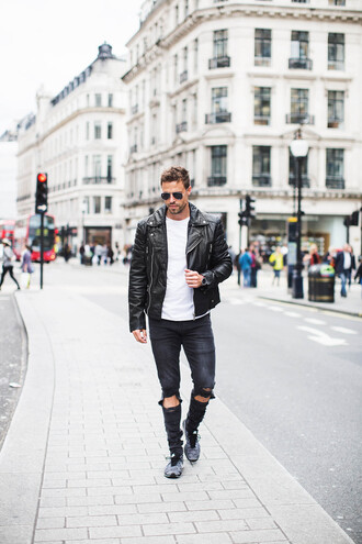 hello his blogger jacket t-shirt shoes sunglasses leather jacket menswear streetstyle black ripped jeans white t-shirt