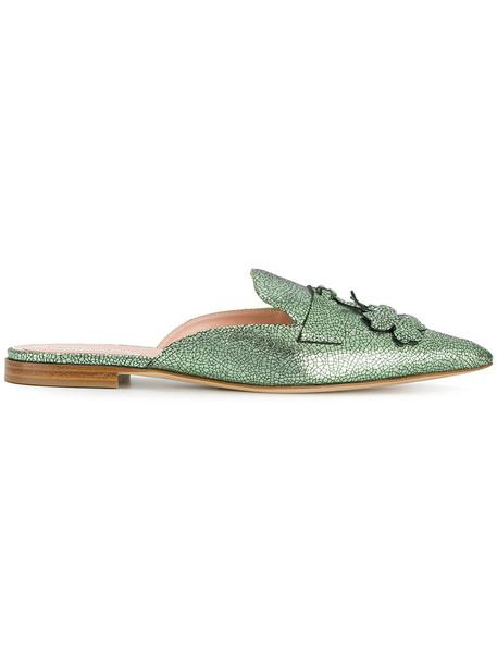 Alberta Ferretti women mules leather green shoes