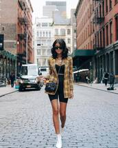 shoes,boots,white boots,ankle boots,mid heel boots,High waisted shorts,shorts,blazer,check blazer,crop tops,sunglasses,crossbody bag,chain necklace