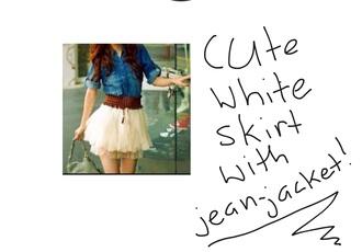skirt white skirt brown belt