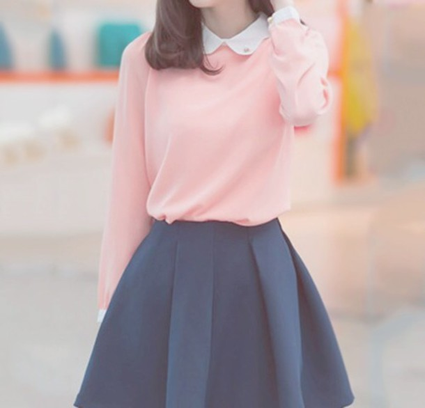 Top: skirt, sweater, style, pink sweater, blue skirt - Wheretoget