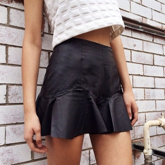 skirt black leather skirt black skater skirt