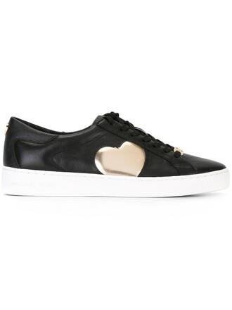 heart women love sneakers leather black shoes