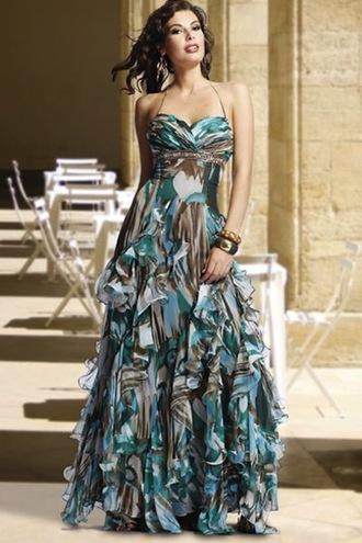 dress long dress maxi dress empire waist camouflage ruffle loose fit dress flowy sleeveless spaghetti strap