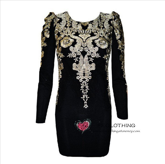 Two colors fashion gold embroidered black vintage puff sleeve dress · fe clothing · online store powered by storenvy