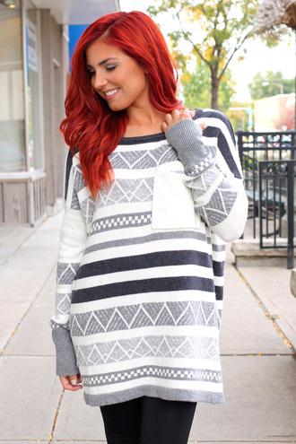 pocket stripes chevron knitwear