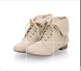 shoes beige shoes onfancy laced boots