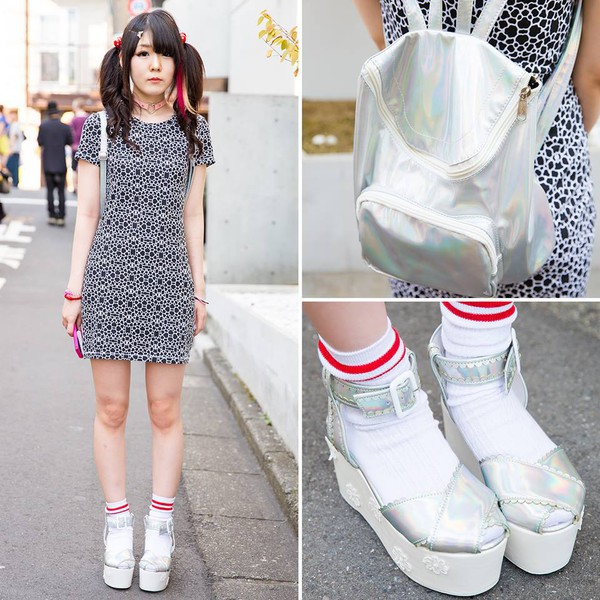 bag dress grunge tumblr silver red japanese japan