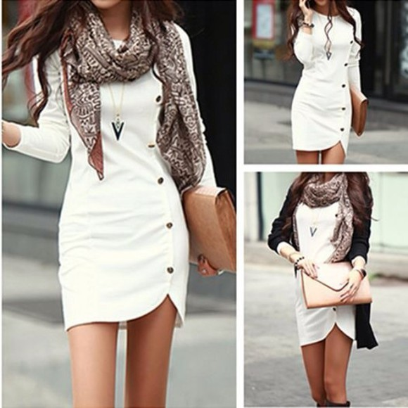 gold buttons white dress blouse buttons side buttons casual dress dress cute dress casual dressy summer dress white bodycon dress long sleeve dress bag scarf