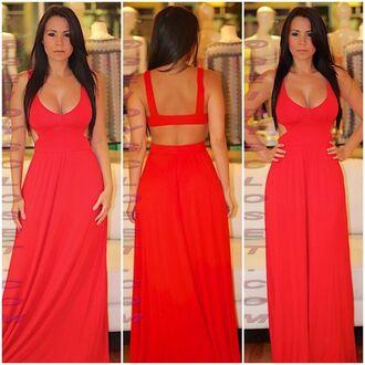 dress red sexy sexy dress summer dress summer outfits casual reddress openbackdress openback v neck vnckline redmaxidress vneckline maxi dress maxi openback dress
