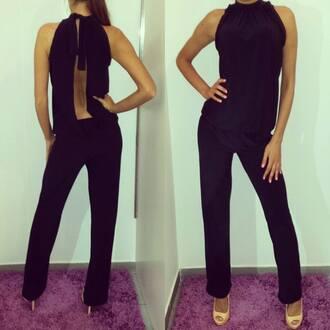 jumpsuit bodysuit black cut out back bow on the back