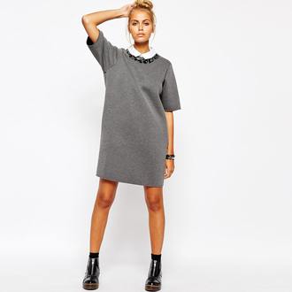 dress space cotton dress boyfriend grey dress detailed beading short dress short sleeve