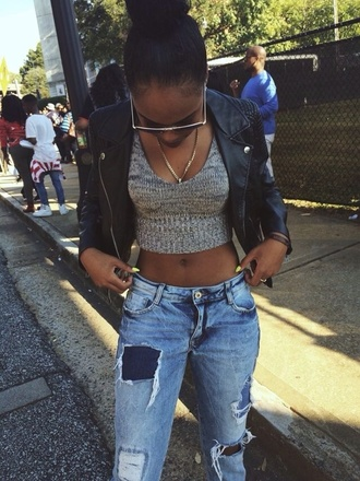 jeans boyfriend jeans leather jacket girly swag chain shirt tank top gray