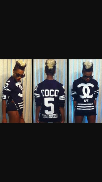 sweater coco chanel sweater chanel inspired black and white jumper
