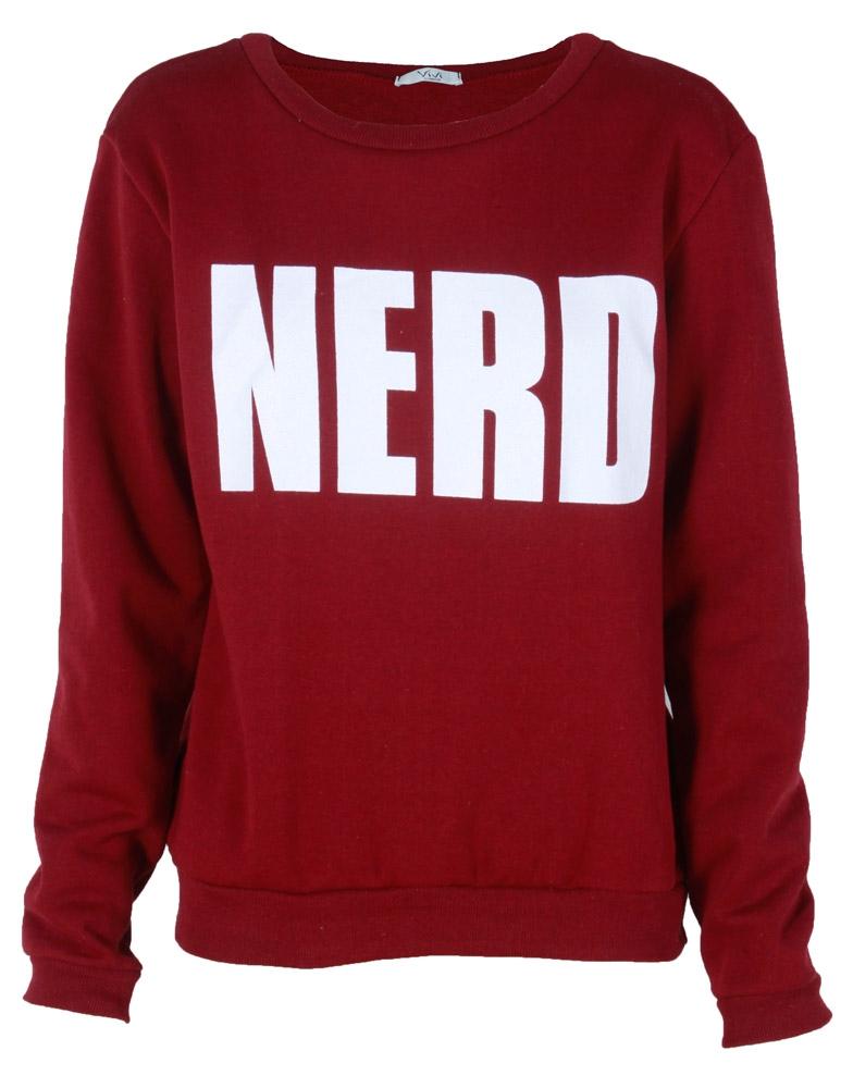 Burgundy nerd print long sleeve sweatshirt