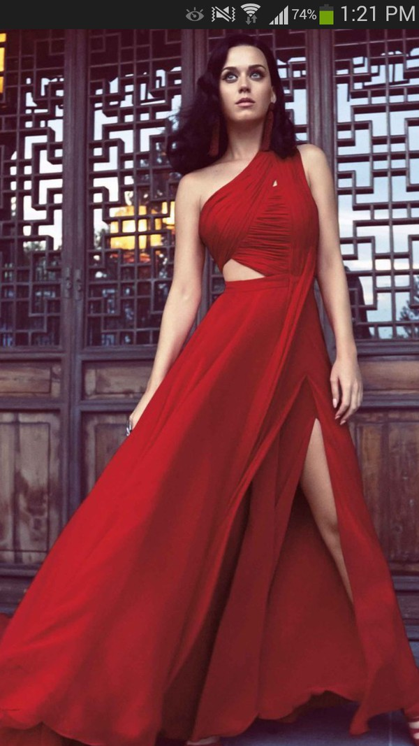 Dress: katy perry, red dress, slit dress, gown - Wheretoget
