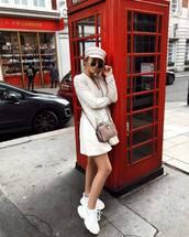 shoes,sneakers,white sneakers,platform sneakers,coat,wool coat,sunglasses,cap,crossbody bag,mini bag